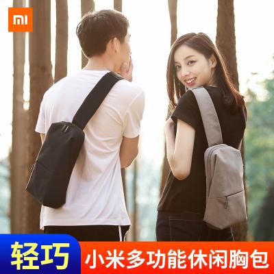 小米胸包單肩包男士斜跨包休閑男包多功能實用迷你運動腰包手提包