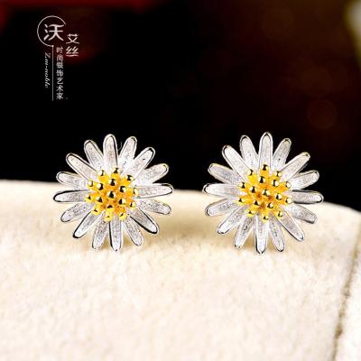 春节礼物 时尚小雏菊纯银耳钉花形流行饰品日韩可爱学生甜美耳饰