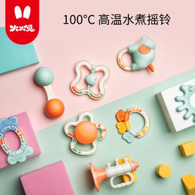 火火兔婴幼儿手摇铃0-1岁 新生儿宝宝益智牙胶男孩女孩玩具8件套