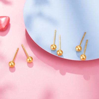 老廟黃金 【2020新款】K金耳飾玫瑰金18K圓光珠耳釘 定價 禮物