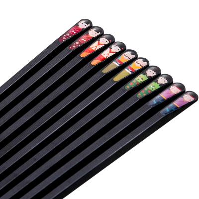 雙槍筷子家用防霉防滑耐高溫油炸5雙官方旗艦店日式合金筷子套裝人物筷