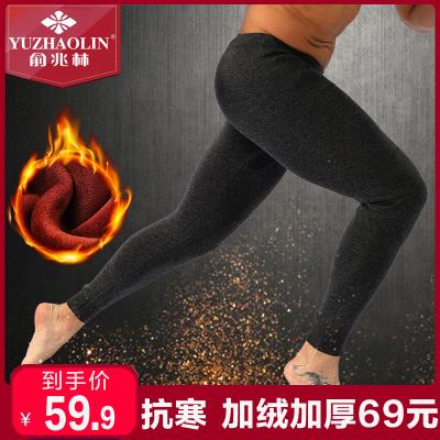 俞兆林秋冬新款加絨加厚棉質保暖褲男士超柔熱力絨雙層加大護膝秋褲打底褲