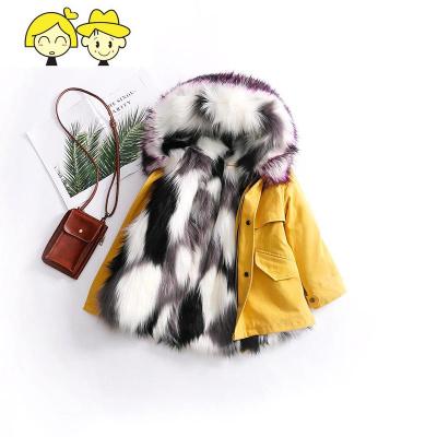 儿童皮冬装男童仿狐狸毛派克服大衣女童中长款宝宝加厚棉衣外套