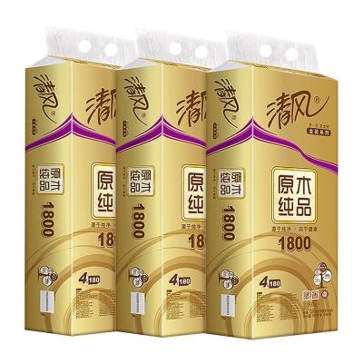 清风(APP)卷纸原木金装4层180g30卷卷筒有芯卫生纸巾餐巾纸1800克