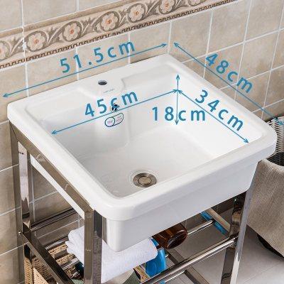 定做 陶瓷洗衣池盆鋼架臺盆洗手盆帶搓衣板陽臺洗衣槽水池臉盆室外小號