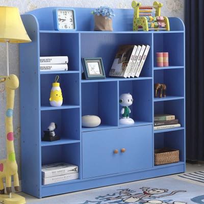 儿童书架简易学生书柜简约现代美式置物架书房书橱带门原木色白色 612款原木色宽120深24高122CM 1-1.2米宽