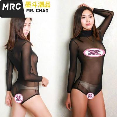 超薄透明连身衣内衣性感睡衣黑色下开口网纱连体衣塑身衣