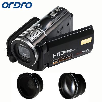 歐達(ORDRO) F5 數碼攝像機高清家DV1080P500萬3英寸 家用/直播 /dv/攝影機/錄像機(廣角+增距)
