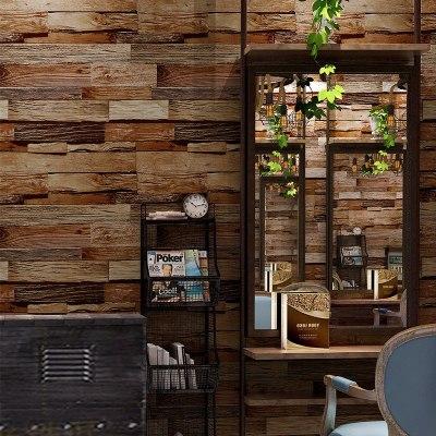 R4复古怀旧木板木纹墙纸服装店烧烤饭店理发店3d立体仿真壁纸工业