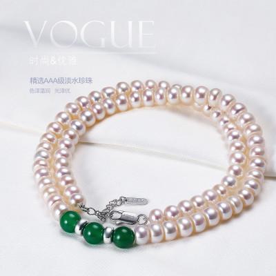 佰色傳情(BRIR)淡水珍珠項鏈女7-8MM四面扁圓強光珍珠項鏈配綠瑪瑙富貴吉祥珍珠飾品925純銀配件送母親無限回購