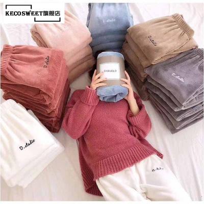 keco sweet 仙女暖暖褲珊瑚絨居家保暖褲秋冬季珊瑚絨懶懶褲收口打底褲女外穿