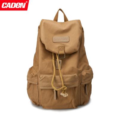 CADEN卡登 F5 佳能 70D 6D 60D 7D 5D3 尼康 專業單反相機 帆布時尚休閑 雙肩攝影背包(卡其色)