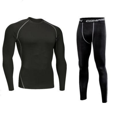 运动跑步健身裤男速干透气套装篮球打底裤弹力瑜伽训练色紧身裤