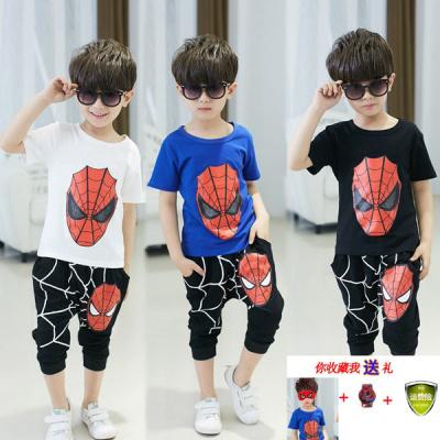 男童奧特曼衣服兒童蜘蛛俠短袖套裝夏季新款純棉兩件套