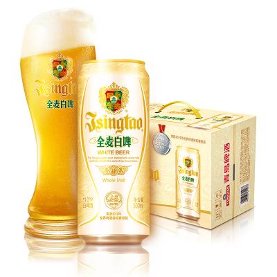 青島啤酒(TSINGTAO)白啤(11度)500ml*12罐 整箱裝 官方直營 新老包裝隨機混發