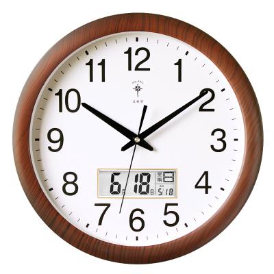 北极星(POLARIS)16英寸家用钟表简约大气夜光客厅大挂钟现代创意挂表时钟静音万年历LCD石英钟
