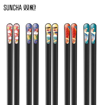 雙槍筷子家用防霉防滑耐高溫油炸5雙官方旗艦店日式合金筷子套裝動物筷