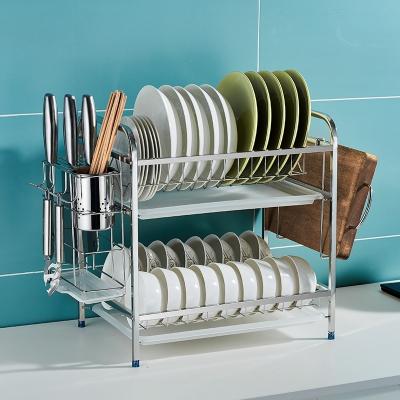 卡贝水槽厨房置物架碗碟水池收纳架水槽上方碗架沥水架碗筷收纳盒 [2层标配]+筷筒+砧板架(送4钩)