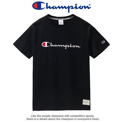 Champion 冠軍男士短袖夏季女情侶寬松圓領刺繡時尚百搭運動T恤