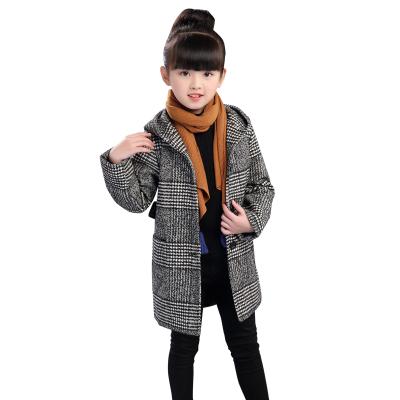 2019春季女童秋冬装外套儿童毛呢加厚洋气时尚风衣中大童韩版毛呢大衣中长款