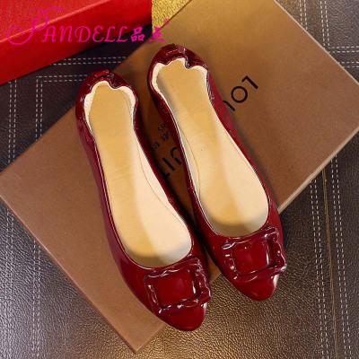品點(Pandell)新款柔軟鞋底蛋卷鞋真皮內里豆豆鞋平底單鞋休閑鞋女防滑耐磨孕婦鞋開車鞋女鞋