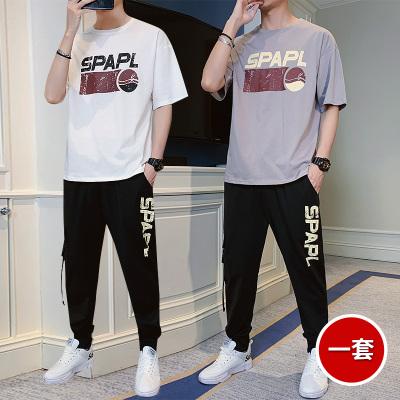 波斯萊 主推t恤男士短袖夏季一套裝韓版潮流男裝運動休閑帥氣搭配長褲子夏裝