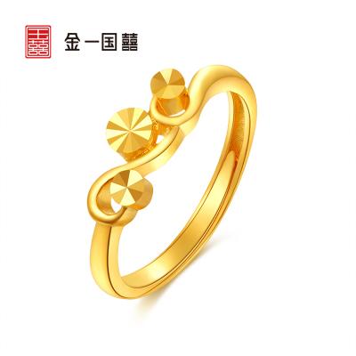金一國囍 足金簡約女戒黃金戒指送女友浪漫禮物(計價) AAA003