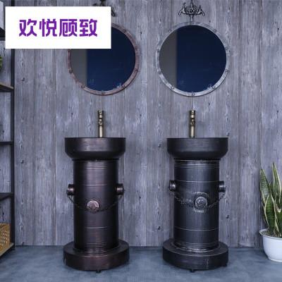 铁艺复古一体立柱盆工业风洗手盆卫生间立柱式洗脸盆阳台洗手池