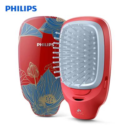 飛利浦(Philips) 負離子梳 按摩梳造型美發梳呵護頭發防靜電梳子 卷直兩用粗硬細軟發質HP4722/35中國風紅色