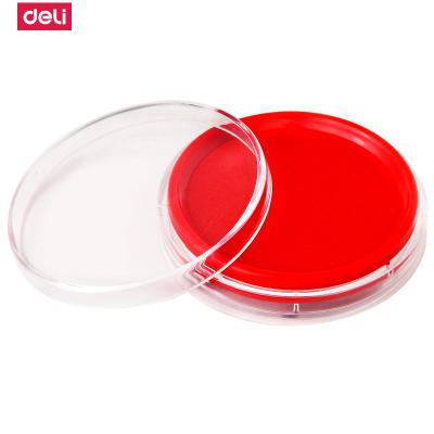 得力(deli)9863印台快干印泥圆形印章油油性橡皮章海绵印油办公 红色 5个装
