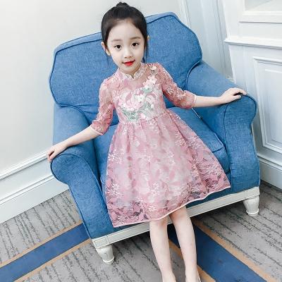 女童连衣裙春秋新款童装夏装蕾丝裙女孩公主裙儿童洋气裙子夏威珺