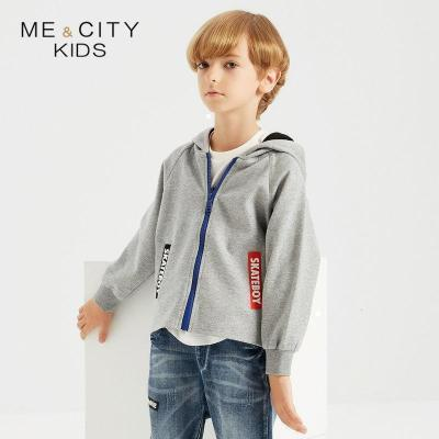 【2件2.5折價:87.3】米喜迪mecity童裝秋裝新款男童寬條撞色拼接針織開衫