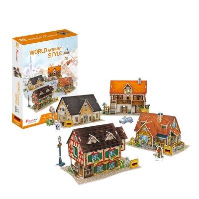 DIE-CAST樂立方3D立體拼插拼圖模型拼裝玩具 世界風情德國迷你名建筑創意DIY 【禮盒裝4件套】德國風情(送配件)