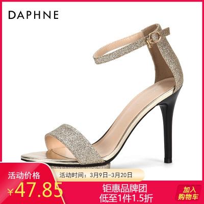 Daphne/達芙妮正品高跟鞋亮片舒適潮流一字扣純色時尚涼鞋女