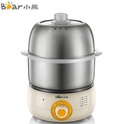 小熊(Bear)煮蛋器 家用单双层蒸蛋器 旋钮定时自动断电 不锈钢多功能早餐机迷你小型煎蛋器锅 ZDQ-B14J1
