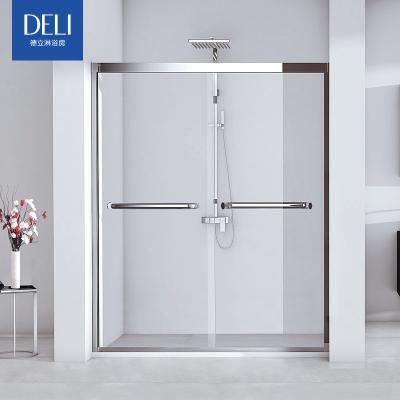 德立淋浴房干湿分离不锈钢移门卫生间定制浴室隔断玻璃推拉门S7