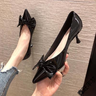 蝴蝶結高跟鞋女細跟2020年秋季新款百搭性感漆皮學生少女尖頭單鞋