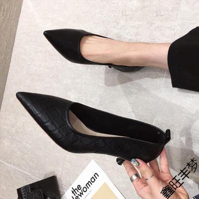 軟皮高跟鞋女細跟2020年秋季新款百搭黑色職業性感淺口尖頭單鞋子