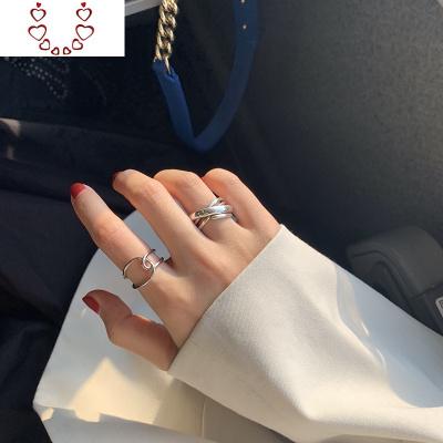 【迷度】簡約線條設計感開口戒指環女個叉戒指街拍漢服搭配 Chunmi水晶戒指