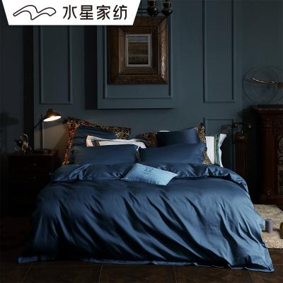 水星家紡60S長絨棉四件套純棉全棉床單床笠款玉玨高檔床上用品1.8米床長絨棉絎縫貢緞