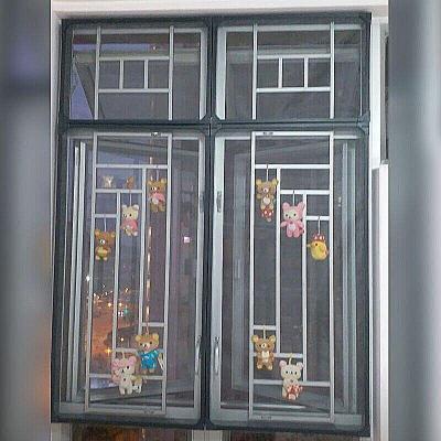 閃電客可定制豪華款磁性防蚊紗窗隱形紗窗紗防蚊防霧霾防塵紗窗紗網 綠色pvc塑料底框+加密防塵網灰紗 2.8x1.5cm