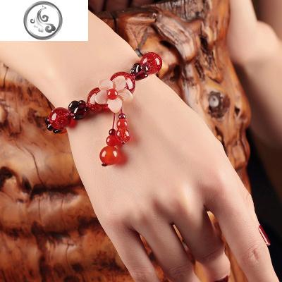 古風民族風紅繩手鏈女石榴石手串韓版簡約個性琉璃手飾復古裝飾品   JiMi