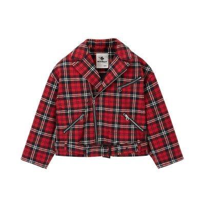 minipeace太平鸟童装男童红色格纹茄克韩版洋气外套春季英伦翻领