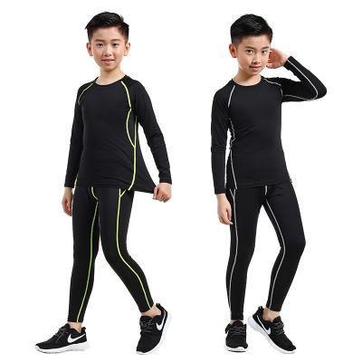 18公主(SHIBAGONGZHU)儿童紧身衣训练服速干衣男跑步打底衫秋冬篮球足球运动健身服套装