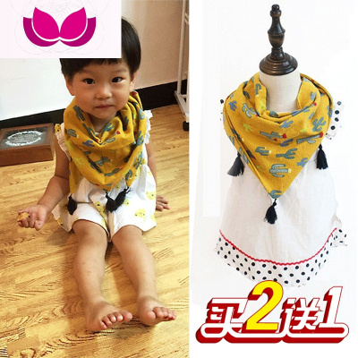 韓版兒童圍巾女春秋雙層棉季棉麻風男寶寶三角圍巾女童卡通圍脖潮
