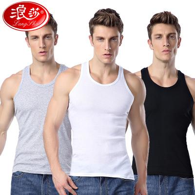 浪莎3件男士背心纯棉青年透气夏季宽松汗衫跨栏吊带白色运动打底