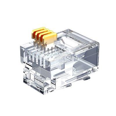 山泽电话水晶头6P4C4芯电话线接头RJ11 100个SJT-36100单位:盒