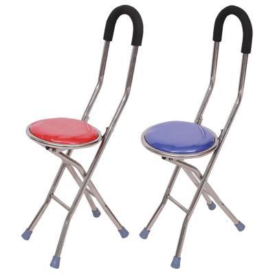 四脚手杖凳 拐杖 手杖凳 老人 便携 折叠椅子拐杖