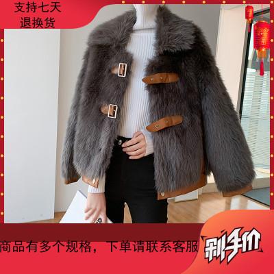 皮草外套女2019冬装新款韩版短款羊羔毛颗粒毛绒绒皮毛一体大衣潮