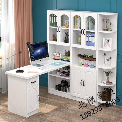 實木書桌書架組合家用書柜臺式轉角電腦桌書桌一體學生寫字臺白色